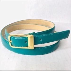 3/$50 Vintage 90s teal gold LC leather belt L